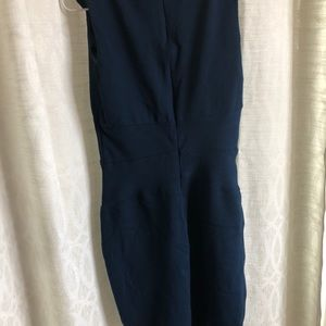 Navy rayon fitted stretchy dress